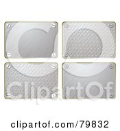 Royalty Free RF Clipart Illustration Of A Digital Collage Of Four Brushed And Diamond Plate Signs by michaeltravers