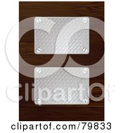 Royalty Free RF Clipart Illustration Of Two Silver Metal Plates On Wood by michaeltravers