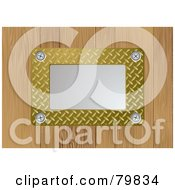 Royalty Free RF Clipart Illustration Of A Silver Metal Plate With Gold Textured Metal On Wood by michaeltravers