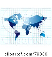 Royalty Free RF Clipart Illustration Of A Shiny Blue Atlas On A Blue Graph