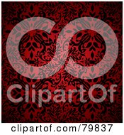 Royalty Free RF Clipart Illustration Of A Black Floral Pattern Over Red by michaeltravers