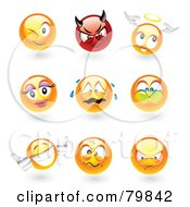 Digital Collage Of 3d Emoticon Faces; Winking, Devil, Angel, Feminine, Crying, Holding Breath, Thumbs Up, Mad And Upset