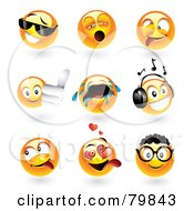 Digital Collage Of 3d Emoticon Faces; Cool, Yawning, Goofy, Thumbs Up, Crying, Music, Teasing, Amorous And Nerd