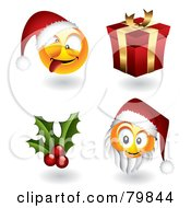 Digital Collage Of 3d Christmas Emoticon Faces; Santas, Holly And Gift