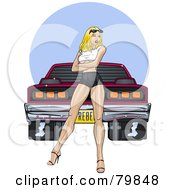Royalty Free RF Clipart Illustration Of A Sexy Pinup Woman Standing In Front Of A Tough Muscle Car by r formidable