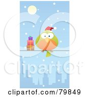 Royalty Free RF Clipart Illustration Of A Chubby Green And Orange Christmas Bird Wearing A Santa Hat And Perched By Gifts On A City Wire In The Snow by Qiun