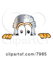 Clipart Picture Of A Pepper Shaker Mascot Cartoon Character Peeking Over A Surface