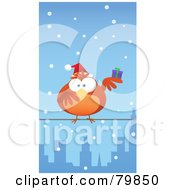 Royalty Free RF Clipart Illustration Of A Chubby Orange Christmas Bird Wearing A Santa Hat And Holding A Present Perched On A City Wire In The Snow