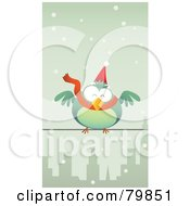 Royalty Free RF Clipart Illustration Of A Chubby Green Christmas Bird Wearing A Santa Hat And Scarf Perched On A City Wire In The Snow by Qiun