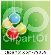 Royalty Free RF Stock Illustration Of A Green Christmas Background With Suspended Balls