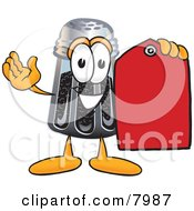 Clipart Picture Of A Pepper Shaker Mascot Cartoon Character Holding A Red Sales Price Tag by Toons4Biz