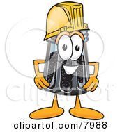 Clipart Picture Of A Pepper Shaker Mascot Cartoon Character Wearing A Helmet by Toons4Biz