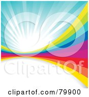 Royalty Free RF Clipart Illustration Of A Background Of A Rainbow Wall Over White Space Under A Blue Burst