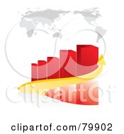Royalty Free RF Clipart Illustration Of A 3d Yellow Arrow Curving Around A Red Bar Graph Under A Map