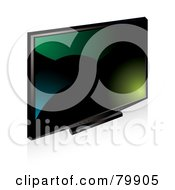 Royalty Free RF Clipart Illustration Of A Sleek And Modern Black Tv Monitor With A Green Teal And Black Screen by MilsiArt
