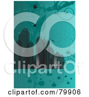 Royalty Free RF Clipart Illustration Of A Teal Background Of Urban Skyscrapers And Helicopters With Grungy Marks And Splatters