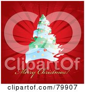 Royalty Free RF Clipart Illustration Of A Golden Merry Christmas Greeting On Red With A Christmas Tree And Burst by MilsiArt