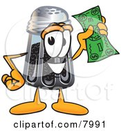Pepper Shaker Mascot Cartoon Character Holding A Dollar Bill