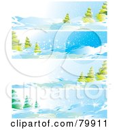 Digital Collage Of Four Winter Landscape And Evergreen Website Banners