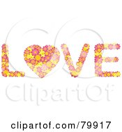 Royalty Free RF Stock Illustration Of Colorful Flowers Spelling The Word Love With The O As A Heart