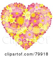 Royalty Free RF Stock Illustration Of A Pink And Yellow Heart Made Of Daisies