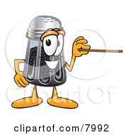 Pepper Shaker Mascot Cartoon Character Holding A Pointer Stick