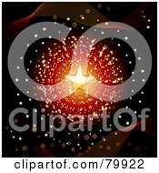 Royalty Free RF Stock Illustration Of A Golden Star Over A Burst Of Tiny Gold Stars On Black With Waves