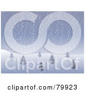 Royalty Free RF Stock Illustration Of A Hillside With Bare Trees In A Foggy Winter Landscape