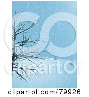 Royalty Free RF Stock Illustration Of A Bare Tree Framing The Scene Of Footprints Leading Up A Snowy Hillside