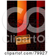 Royalty Free RF Stock Illustration Of A Blank Warning Sign Posted On A Wire Fence Near City Buildings