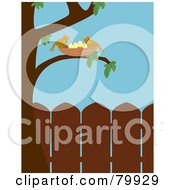 Royalty Free RF Clipart Illustration Of Two Birds Watching Over Their Nest In A Tree In A Backyard