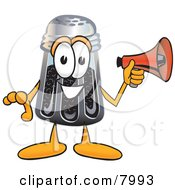 Clipart Picture Of A Pepper Shaker Mascot Cartoon Character Holding A Megaphone by Toons4Biz