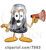 Pepper Shaker Mascot Cartoon Character Holding A Megaphone