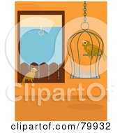 Wild Bird Sitting In A Window And Watching A Caged Pet Bird In An Orange Room