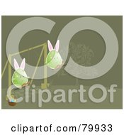 Royalty Free RF Clipart Illustration Of Two Bunny Eared Eggs Playing On Swings by Randomway