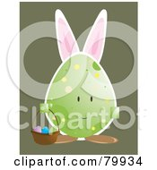 Royalty Free RF Clipart Illustration Of A Bunny Eared Egg Carrying An Easter Basket by Randomway