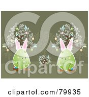 Royalty Free RF Clipart Illustration Of Two Bunny Eared Eggs Carrying Easter Baskets And Watching A Young Egg Tree Grow by Randomway