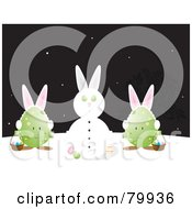 Royalty Free RF Clipart Illustration Of Bunny Eared Easter Eggs Standing By A Bunny Snowman And Holding Baskets