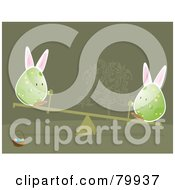 Royalty Free RF Clipart Illustration Of Two Bunny Eared Eggs Playing On A Teeter Totter