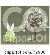 Royalty Free RF Clipart Illustration Of A Bunny Eared Egg Gathering Easter Eggs Under A Tree by Randomway