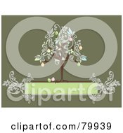 Royalty Free RF Clipart Illustration Of An Easter Egg Tree On Top Of A Floral Green Text Box by Randomway