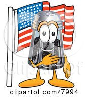 Pepper Shaker Mascot Cartoon Character Pledging Allegiance To An American Flag