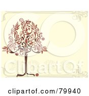 Royalty Free RF Clipart Illustration Of A Red And Brown Apple Tree On A Beige Orchard Background by Randomway