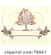 Royalty Free RF Clipart Illustration Of A Red And Brown Apple Tree On A Floral Text Box Over Beige by Randomway