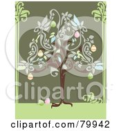 Royalty Free RF Clipart Illustration Of An Easter Tree Growing Colorful Eggs by Randomway