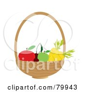Royalty Free RF Clipart Illustration Of A Basket With Healthy Fruits And Veggies