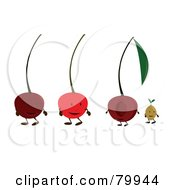 Royalty Free RF Clipart Illustration Of A Digital Collage Of Four Cherry Fruit Characters