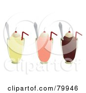 Royalty Free RF Clipart Illustration Of A Digital Collage Of Three Vanilla Strawberry And Chocolate Milkshakes With Straws And Spoons by Randomway