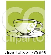 Royalty Free RF Clipart Illustration Of A Floral Cup Of Green Tea On A Saucer by Randomway