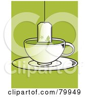 Royalty Free RF Clipart Illustration Of A Tea Bag Suspended Over A Cup Of Green Tea On A Saucer